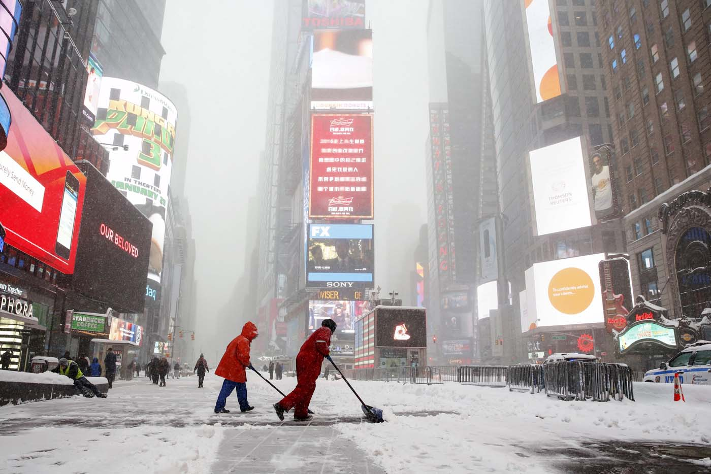 Winter storm in New York City, January 2016. Travel ban in effect.