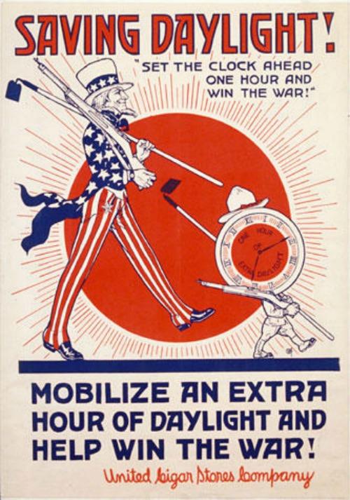 Daylight saving time enacted during World War I.