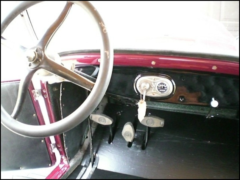 Three pedals in the Model T Ford. Drive, brake and reverse.
