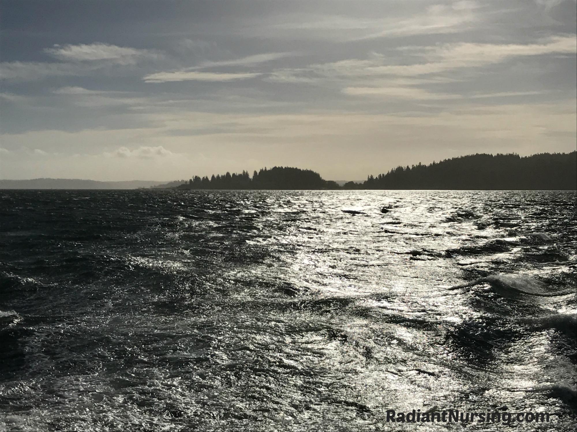 Sunlight sparkles on Puget Sound during a sun break.
