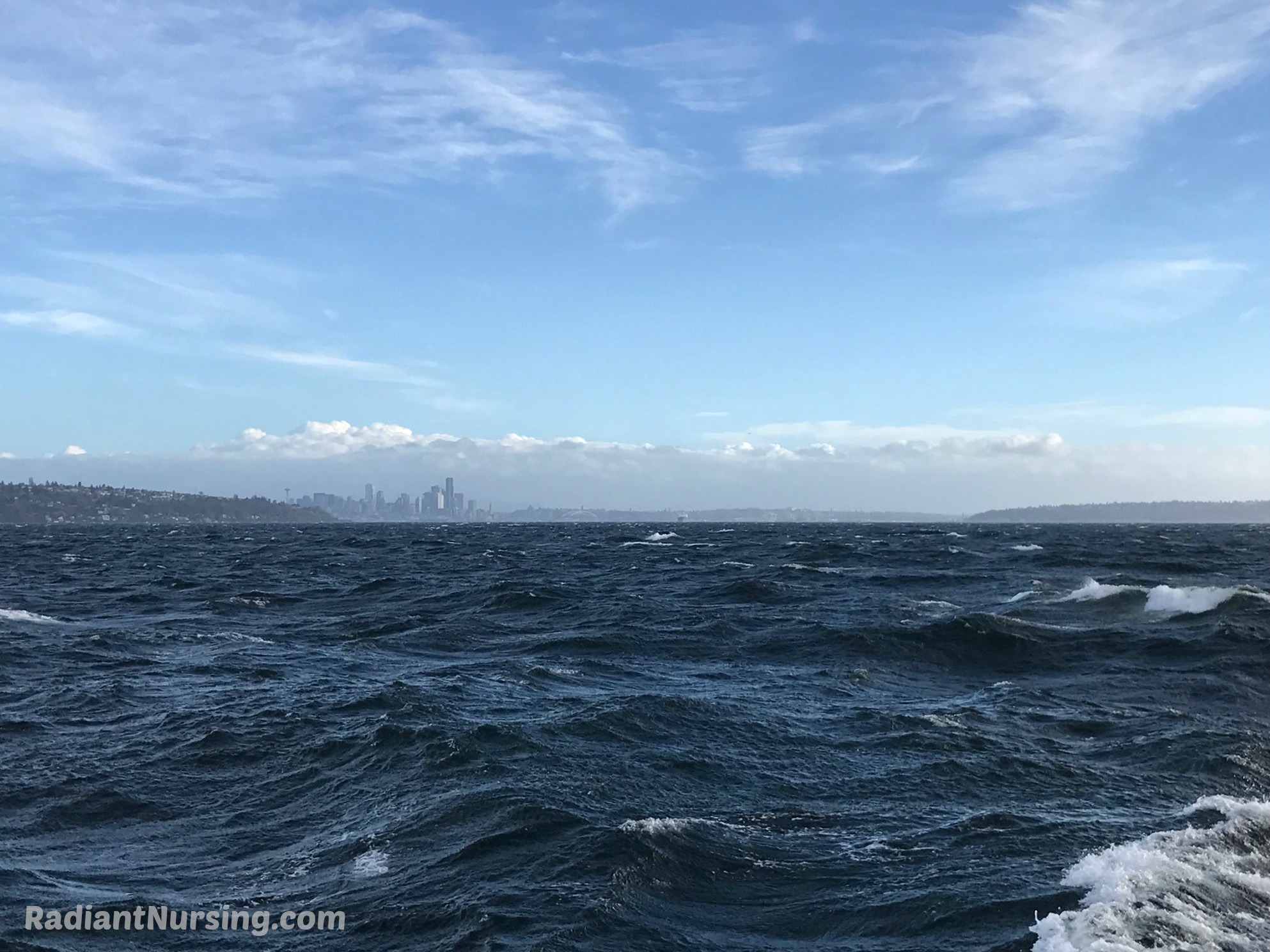 Powerful waves due to a strong wind on Puget Sound.