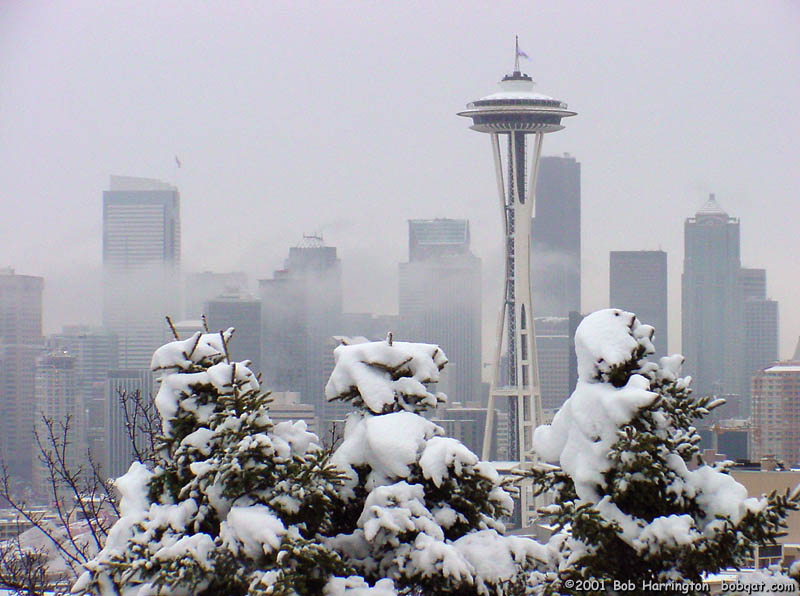 The Space Needle in the snow in 2001.