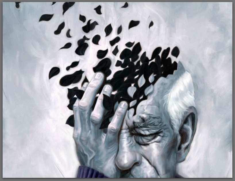 With dementia, parts of the functioning brain are lost.