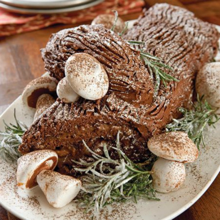 The Buche de Noel, or Yule log, has become a chocolate cake dessert.