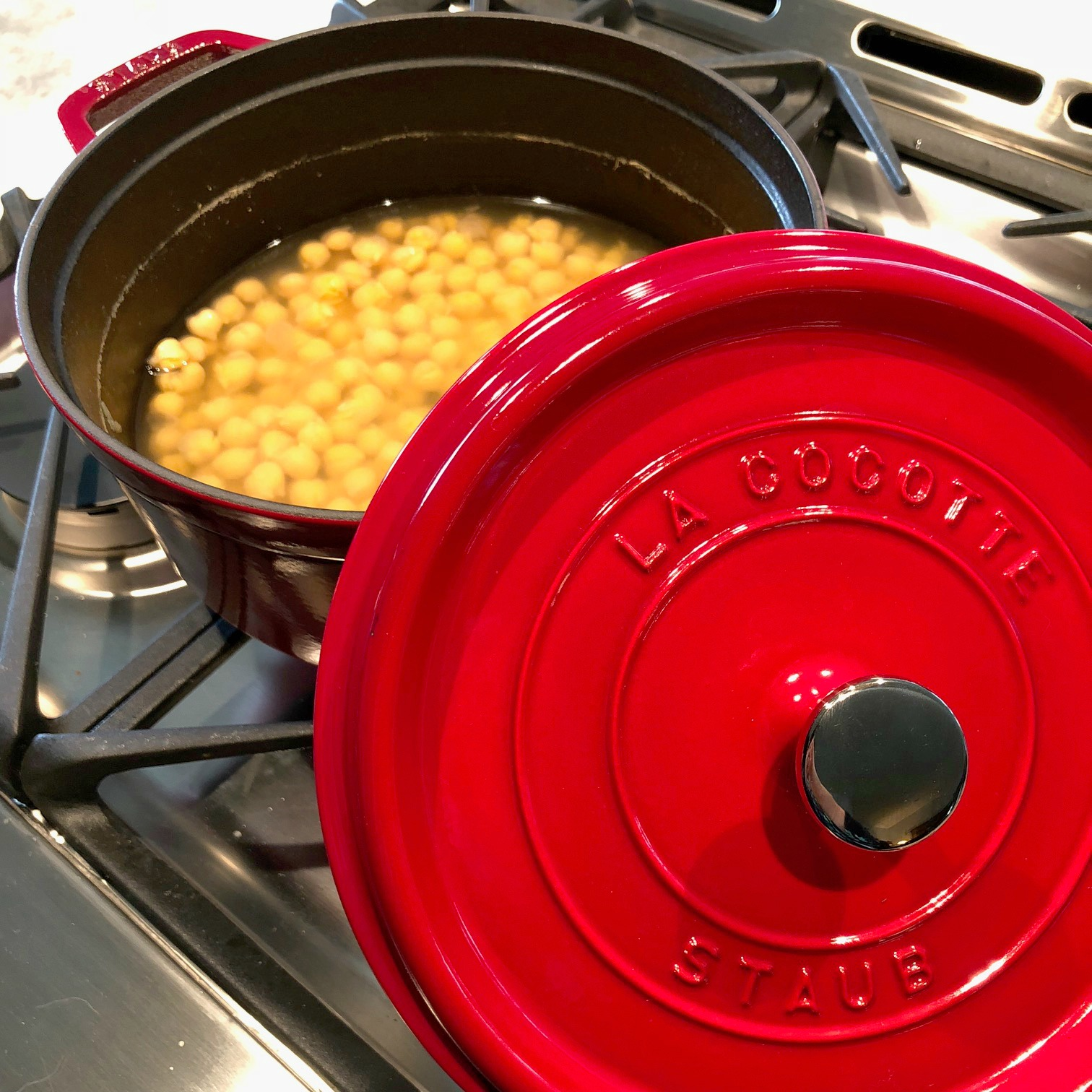 Cooking garbanzo beans in the oven.