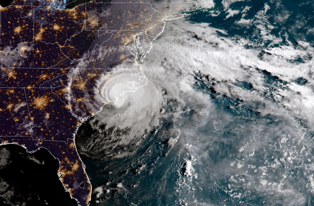 Hurricane Florence as it heads over the Carolinas in the U.S. in September 2018.
