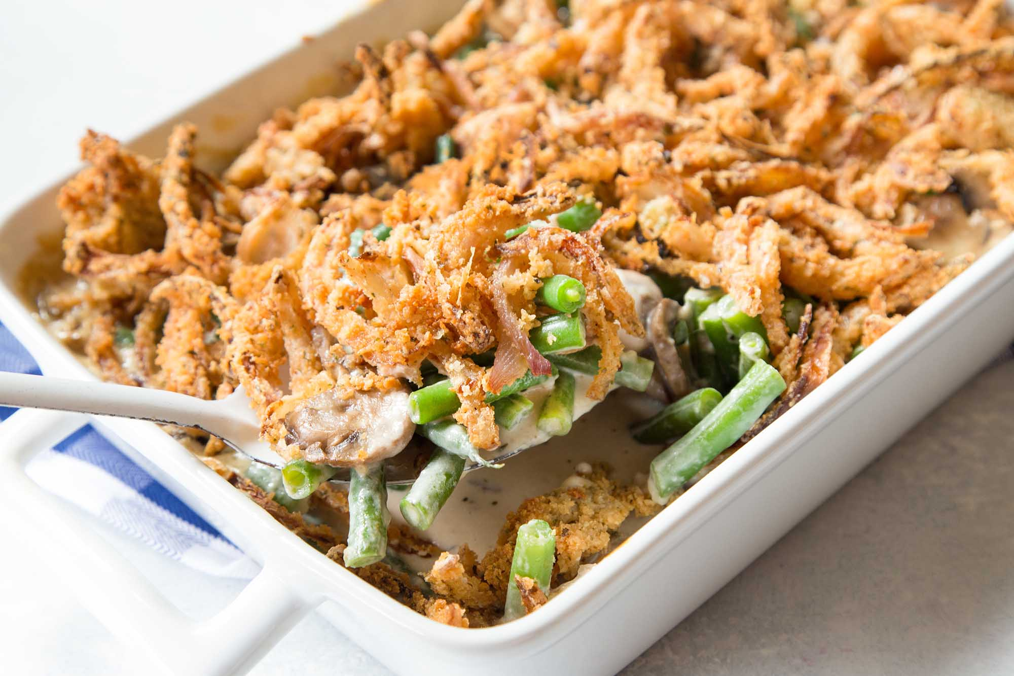 Green bean casserole with fried onions on top. A must have for Thanksgiving.