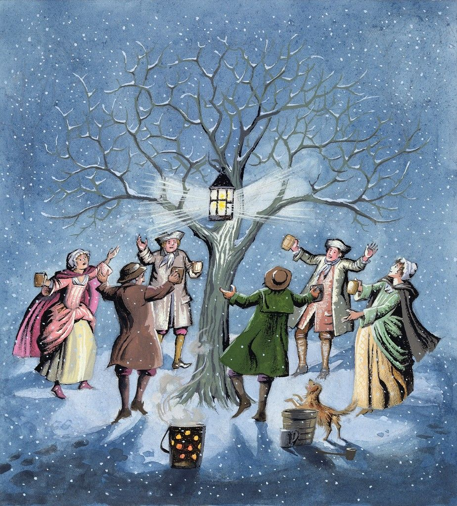 Wassailing to the apple trees for a good harvest the next season.