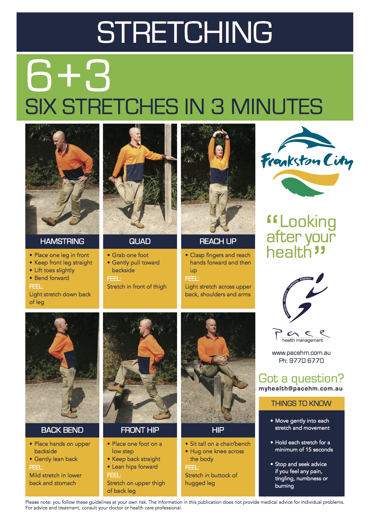An example of a work ready stretching routine!