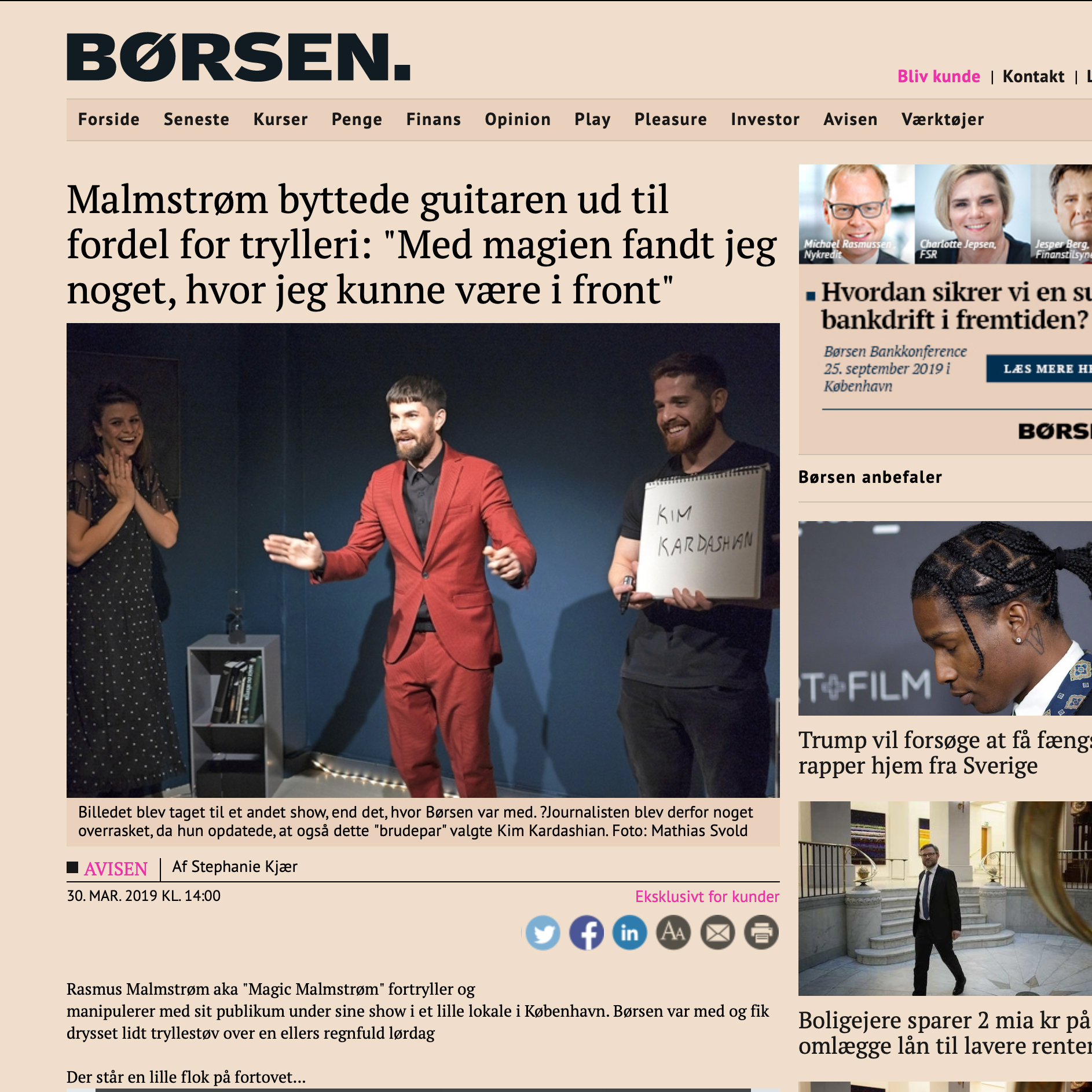 Interview with the Danish newspaper Børsen