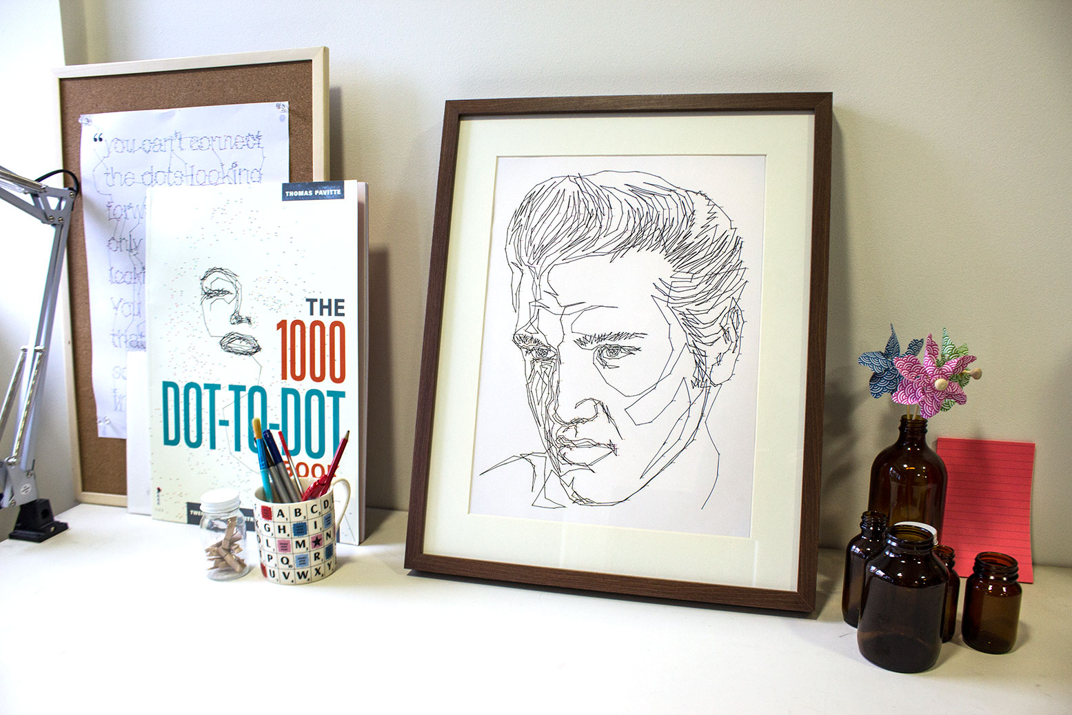 My first published book—The 1000 Dot-to-dot Book featuring 20 iconic portraits and 1000 dots each.