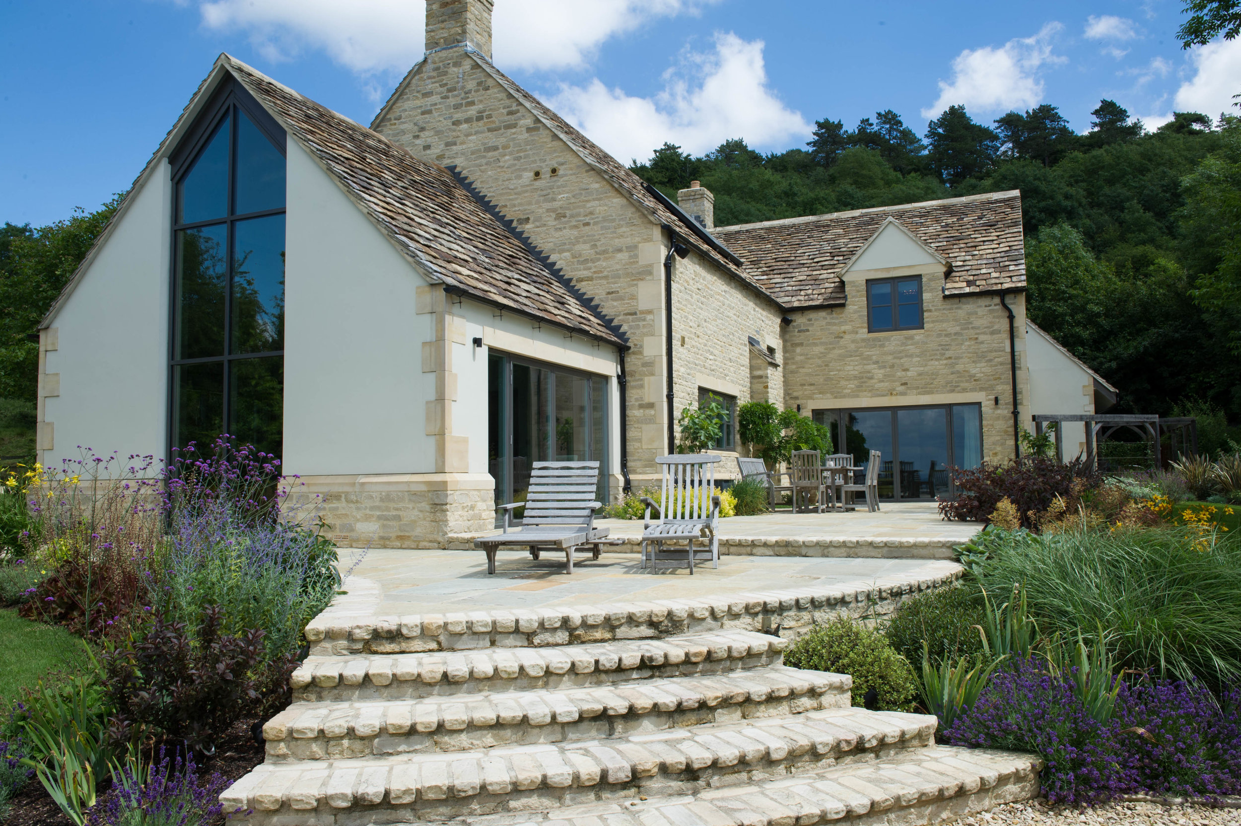 Exterior of contemporary farmhouse in the Cotswolds.