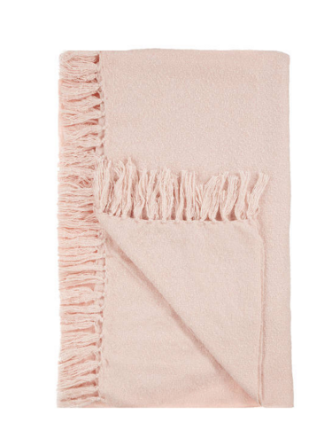 John Lewis & Partners, Relaxed Country Florence Throw, Pink, £25.00