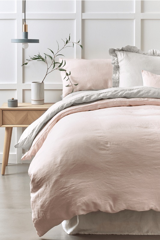 Cox & Cox, Rustic Washed Linen Bedding, Soft Blush, from £40.00