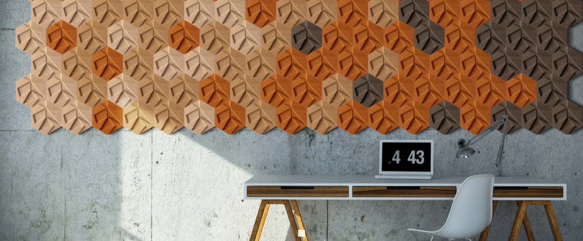 Hexagon cork wall tiles from the Organic Blocks collection by Murrato.