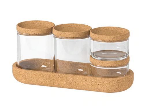 Saxborga jars with cork lids and tray by Ikea £12.