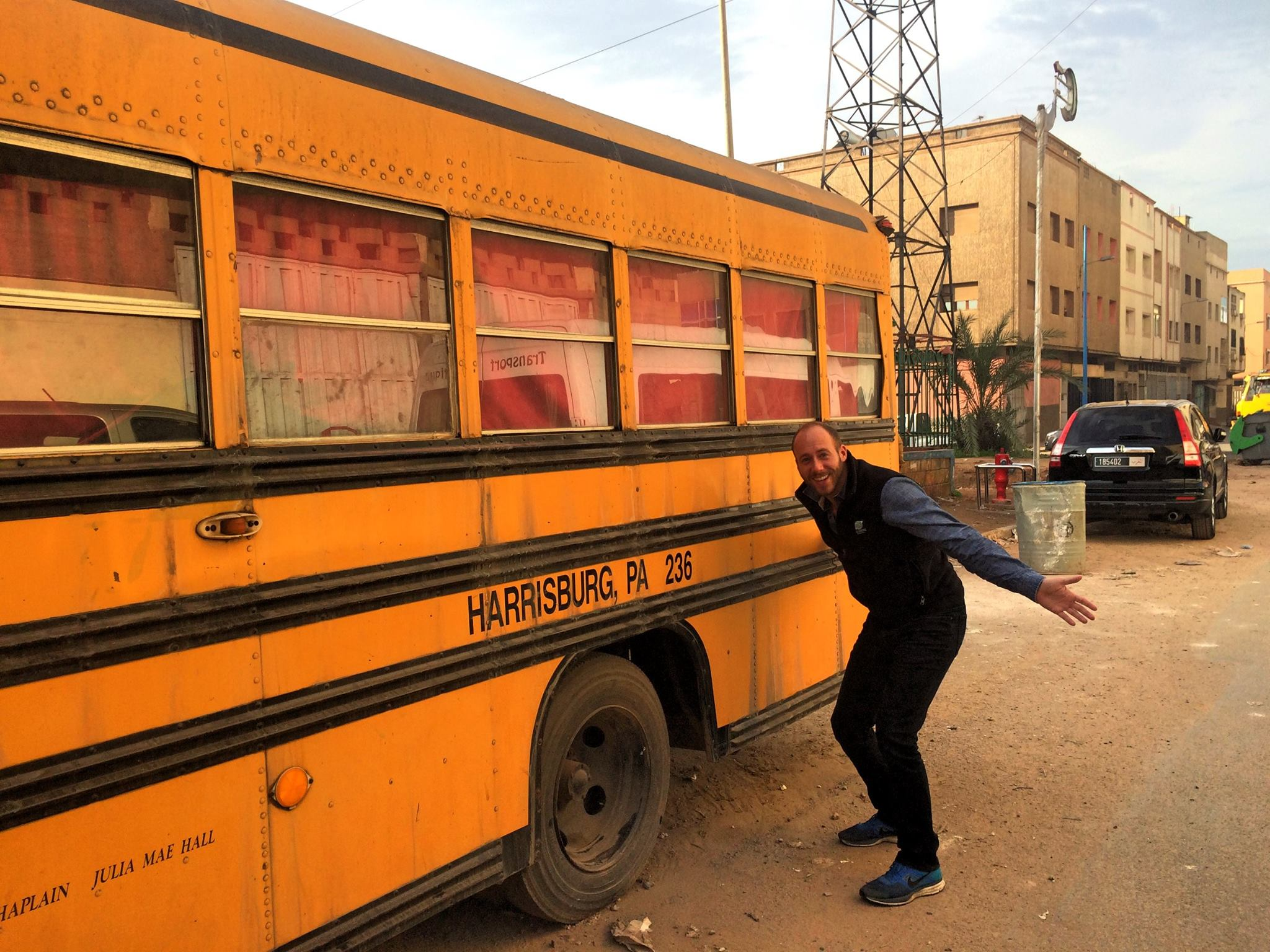 Found a school bus from our hometown of Harrisburg, PA while traveling in Morocco.