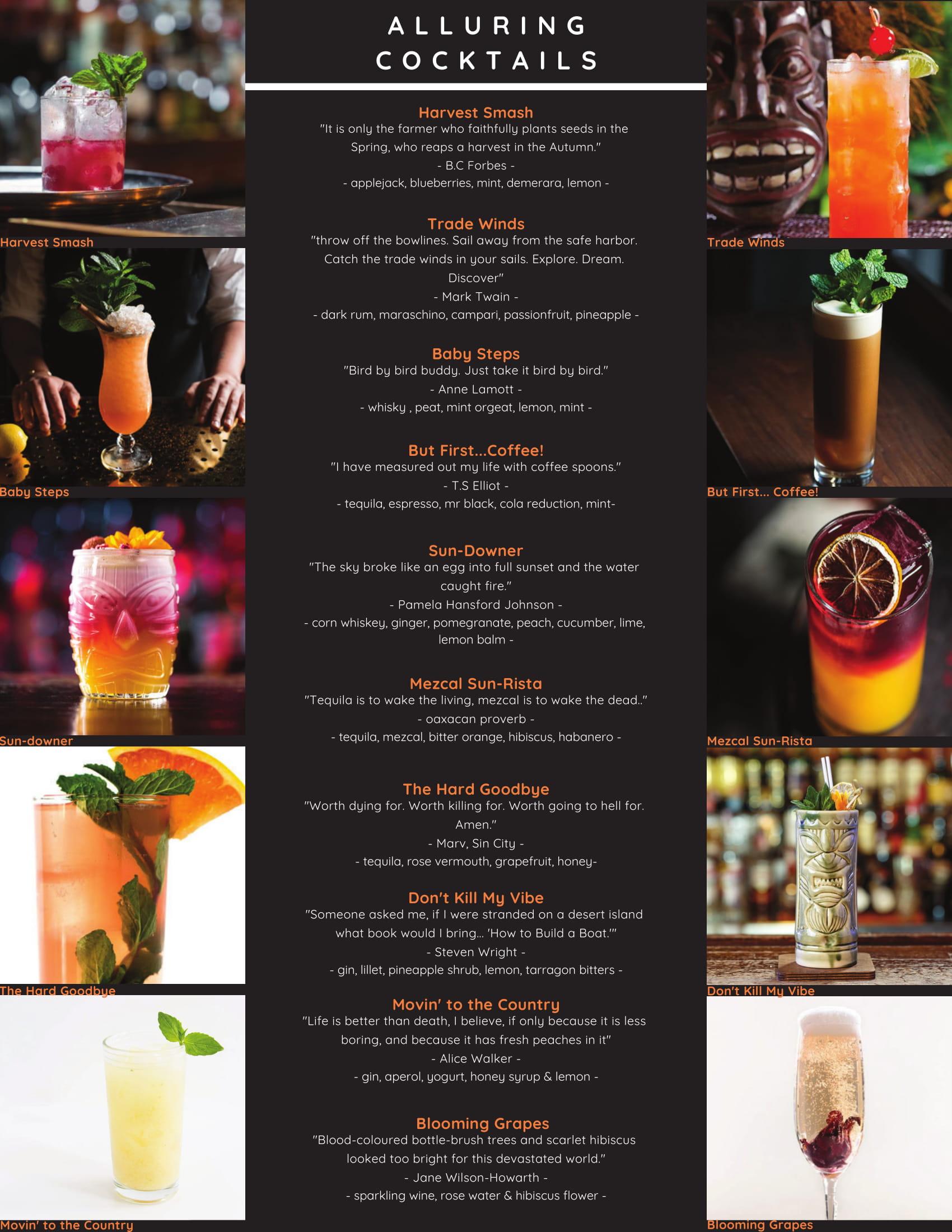 Your Bartender Alluring Cocktails Menu List