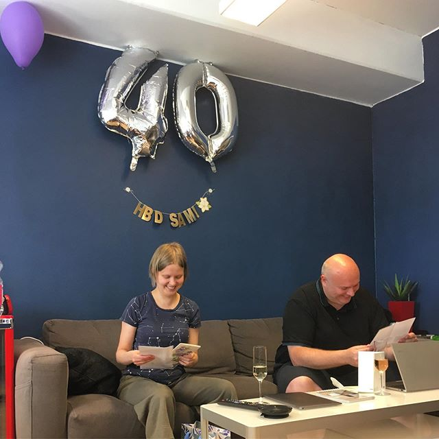 Today is Sam turns 40. Happy Birthday Sam! 🎂Also, today is the last day of our beloved colleague, Tuikku, at Steerpath. All the best to you in your future endeavours! ❤️ In this picture Tuikku & Sam are opening their presents.
