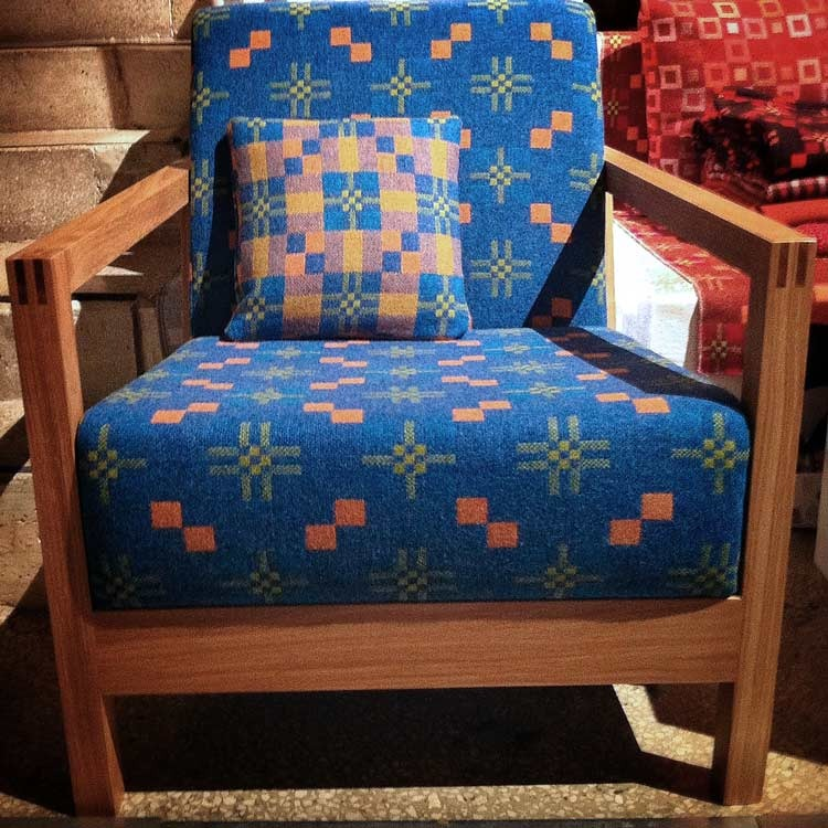 Our new calypso upholstery fabric on a Mathew Hilton chair