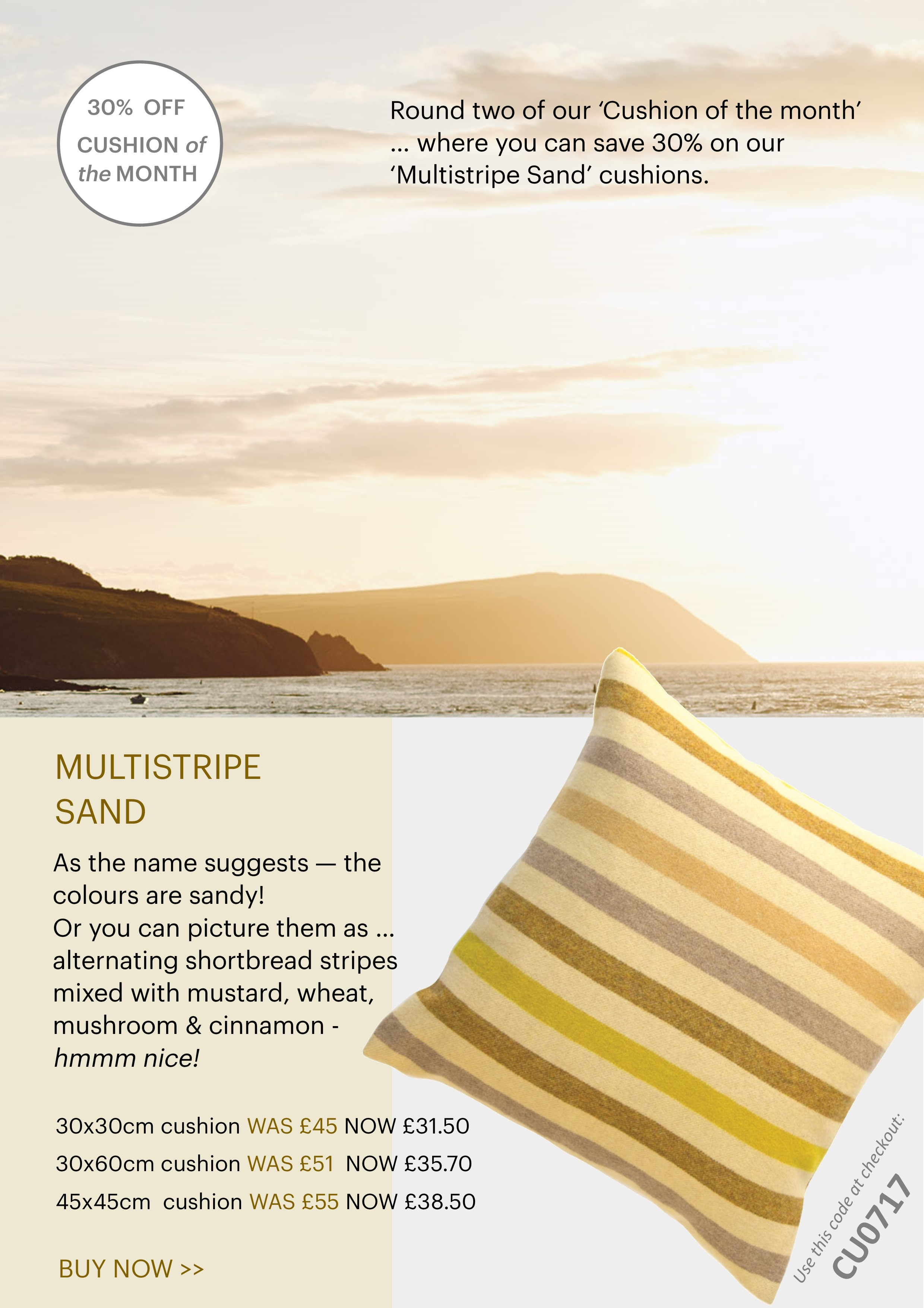 multistripe sand cushion