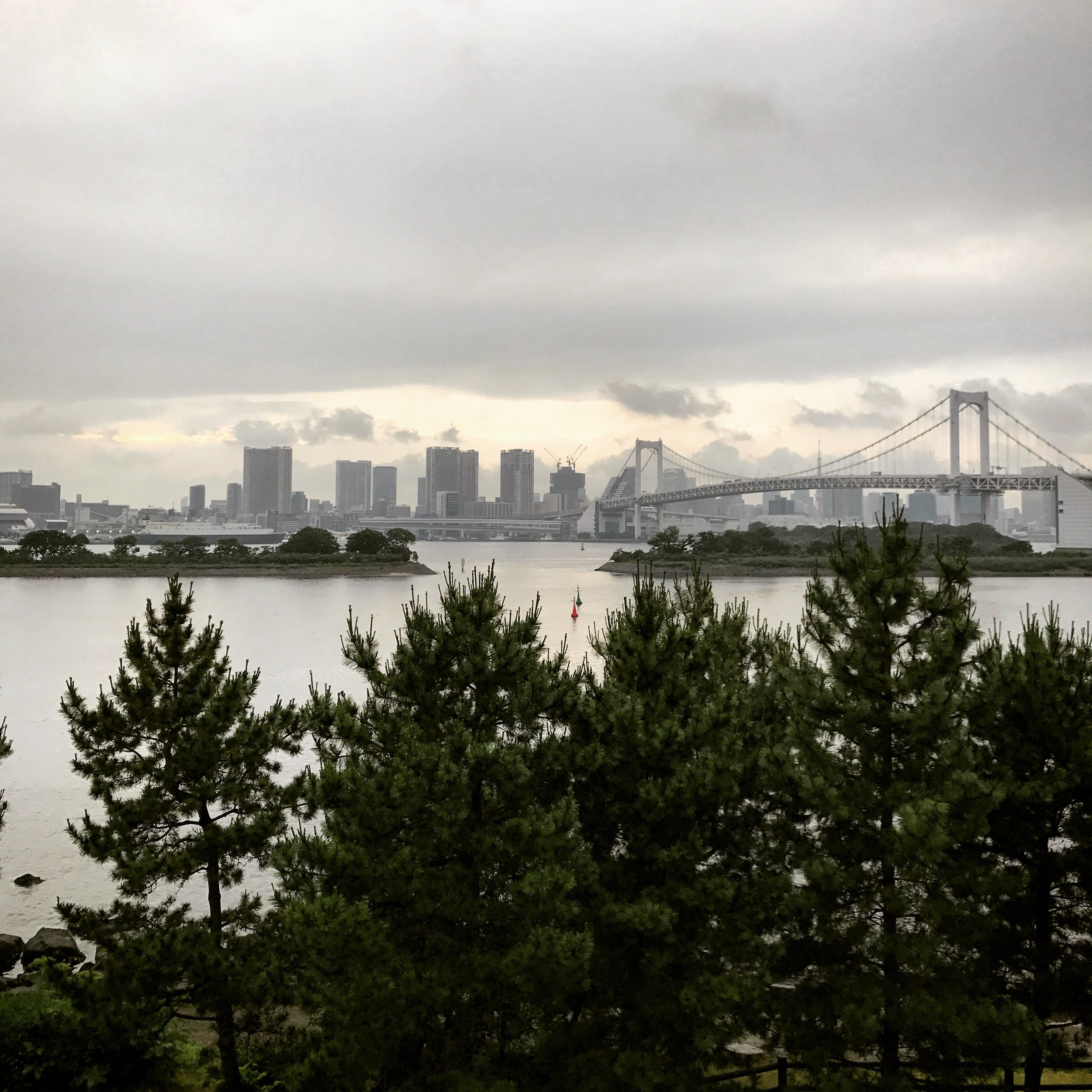 The Rainbow Bridge from Odaiba, Tokyo Bay, Japan
