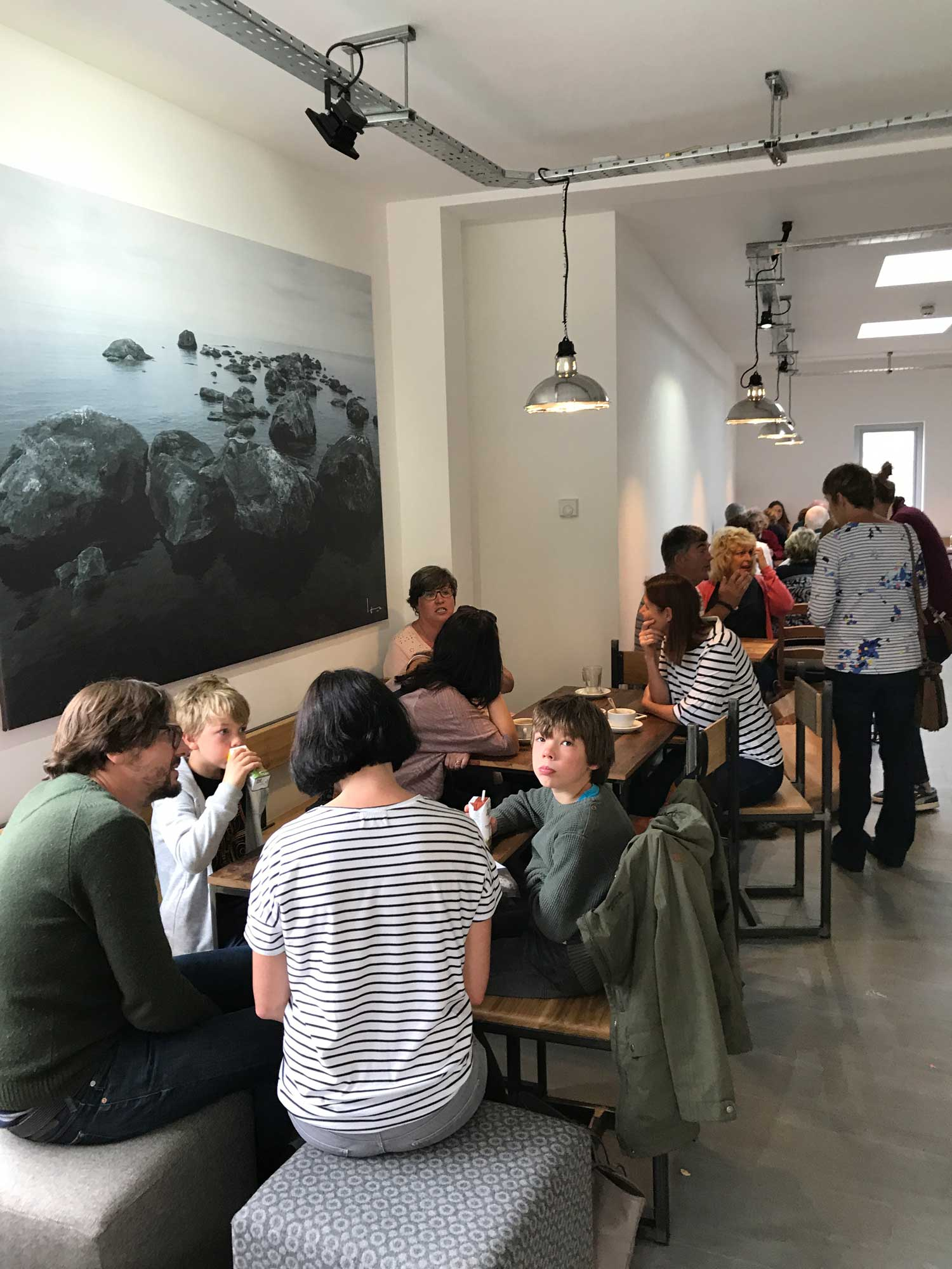 shoppers relaxing in the new cafe