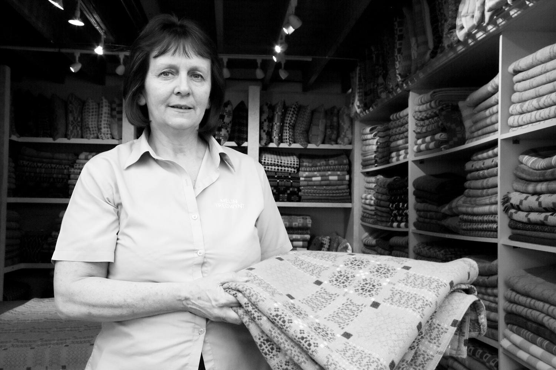 Melin Tregwynt - Sandra in the millshop