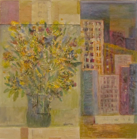 """From My Window"" Acrylic & Mixed Media on Board 24"" by 24"""