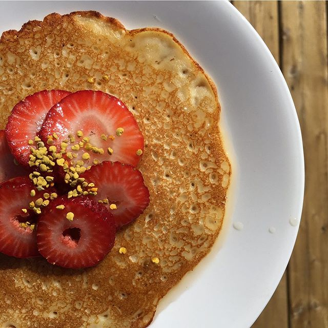 It's a beautiful day for a 🐝utiful day! ☀️ Soaking up all the glorious sunshine and eating all the pancakes (topped with TrueBee Bee Pollen of course!)🍓 ... Did you know that bees carry almost more than half their body weight in pollen back to the hive every day? 💪🏻 It's their main source of protein! ... Bee pollen is an excellent energy boosting + muscle building food to enjoy with your fave fruits! So, drop a squat and top it like it's hot for all the amazing health benefits of this hive superfood: ... ✅ More protein per ounce than beef or cheese...every spoonful is plant-based protein power! ✅ One pollen grain equals over 2 MILLION dust pollen particles and helps relieve seasonal allergies ✅ Source of amino acids + B Complex vitamins...including B12 ✅ Excellent for energy/recovery before + after your workouts ... Want to bring some TrueBee Pollen back to YOUR HIVE? DM us for a local TrueBee Pollen retailer near you! #hivetribe 🐝