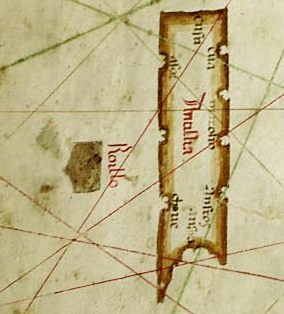 Map of Albino de Canepa, 1489. Antillia, with its Seven Cities, is on the right; the smaller island of Roillo is on the left.