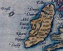 Mythical Brasil besideIreland. Ortelius Map of 1572