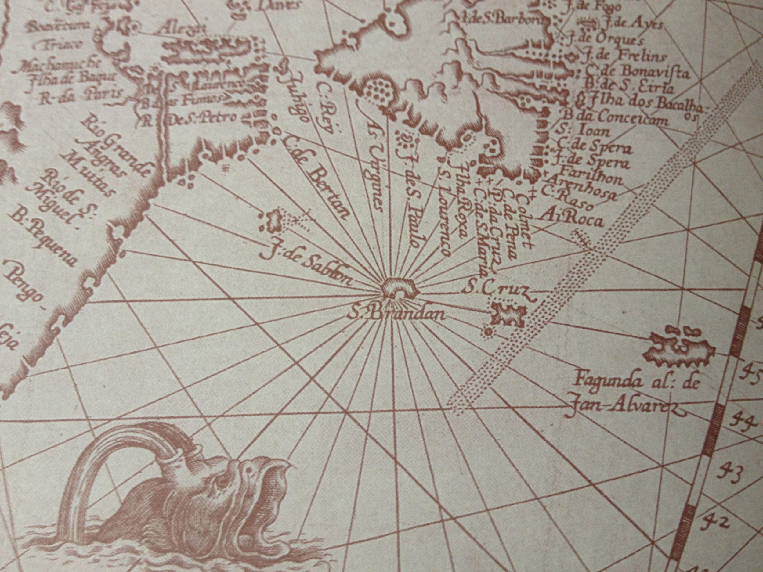 The North Atlantic, c. 1594 by Jan van Doetecum, depicting Saint Brendan's Isle as well asmany other phantom islands such as Buss Island, Brasil, and Frisland.