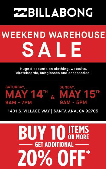Billabong Warehouse Sale Flyer
