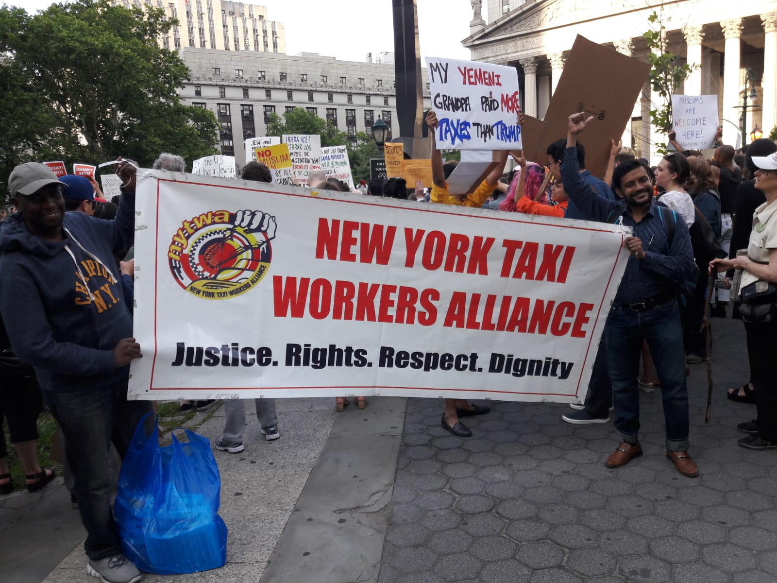 NYTWA Members stand in solidarity at Foley Square protest against Muslim Ban