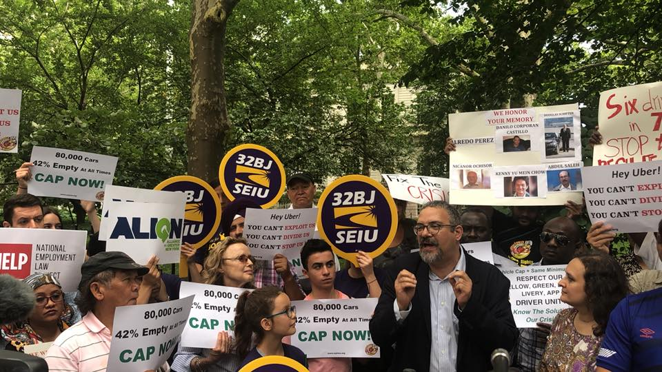 hector figueroa, president of seiu 32bj - and  seiu 32bj members - stood in solidarity with drivers outside city hall!