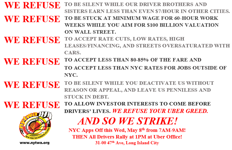 Wed, May 8 STRIKE Against App Companies — New York Taxi
