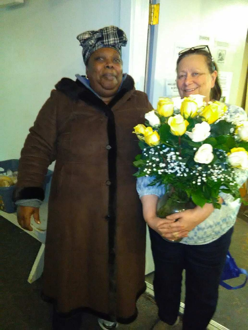 Irene gave Sharon a beautiful bouquet of white and yellow roses representing the true friendships she has found at Samaritan.