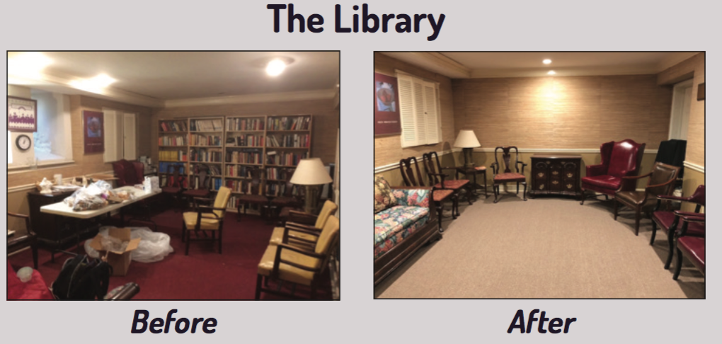 Improvements to the library included window well repair, wall repainting, new carpet installation, woodwork repair, and a new heating/AC unit.