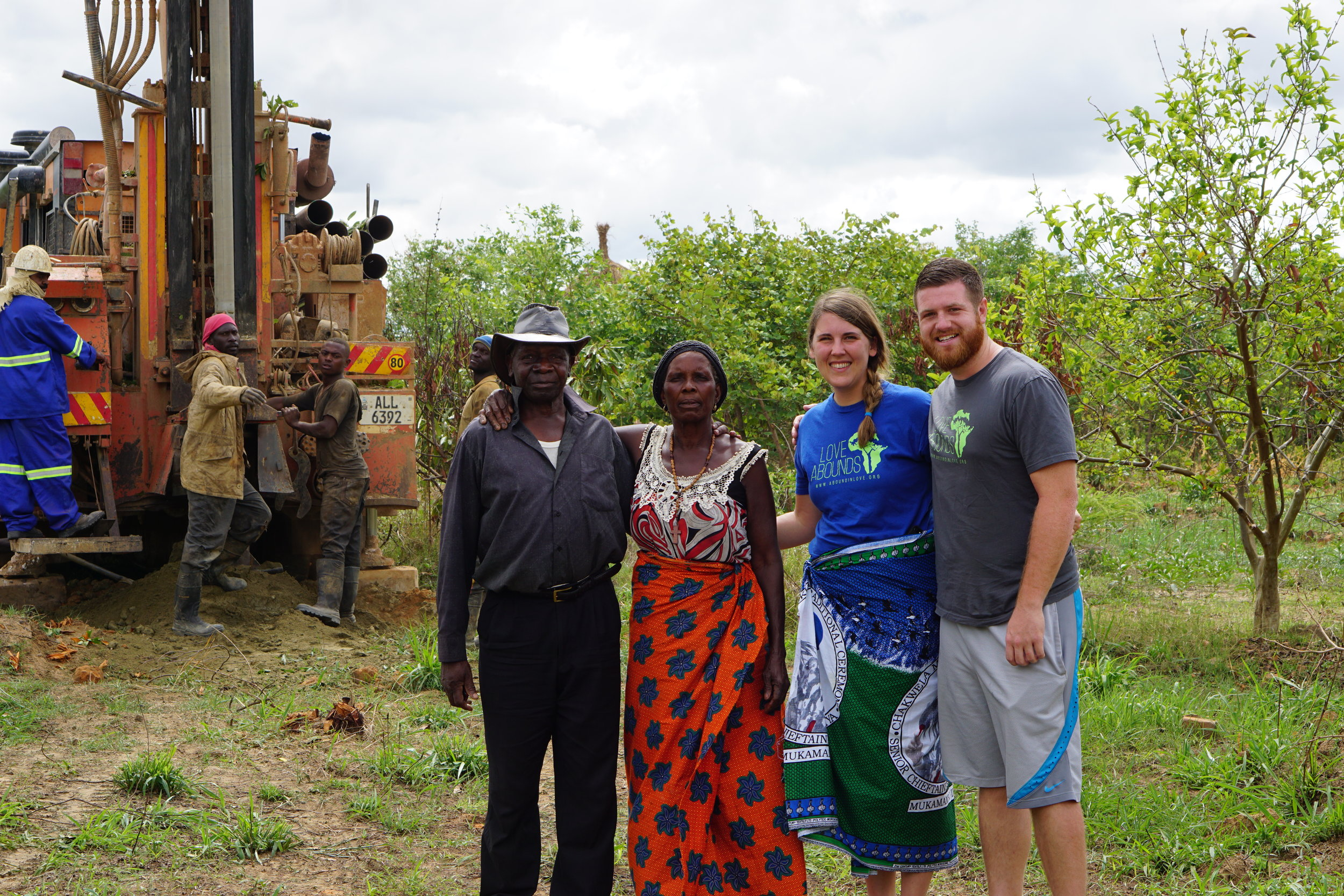 Bethany and David Morgan with Headman Chinkila while drilling well