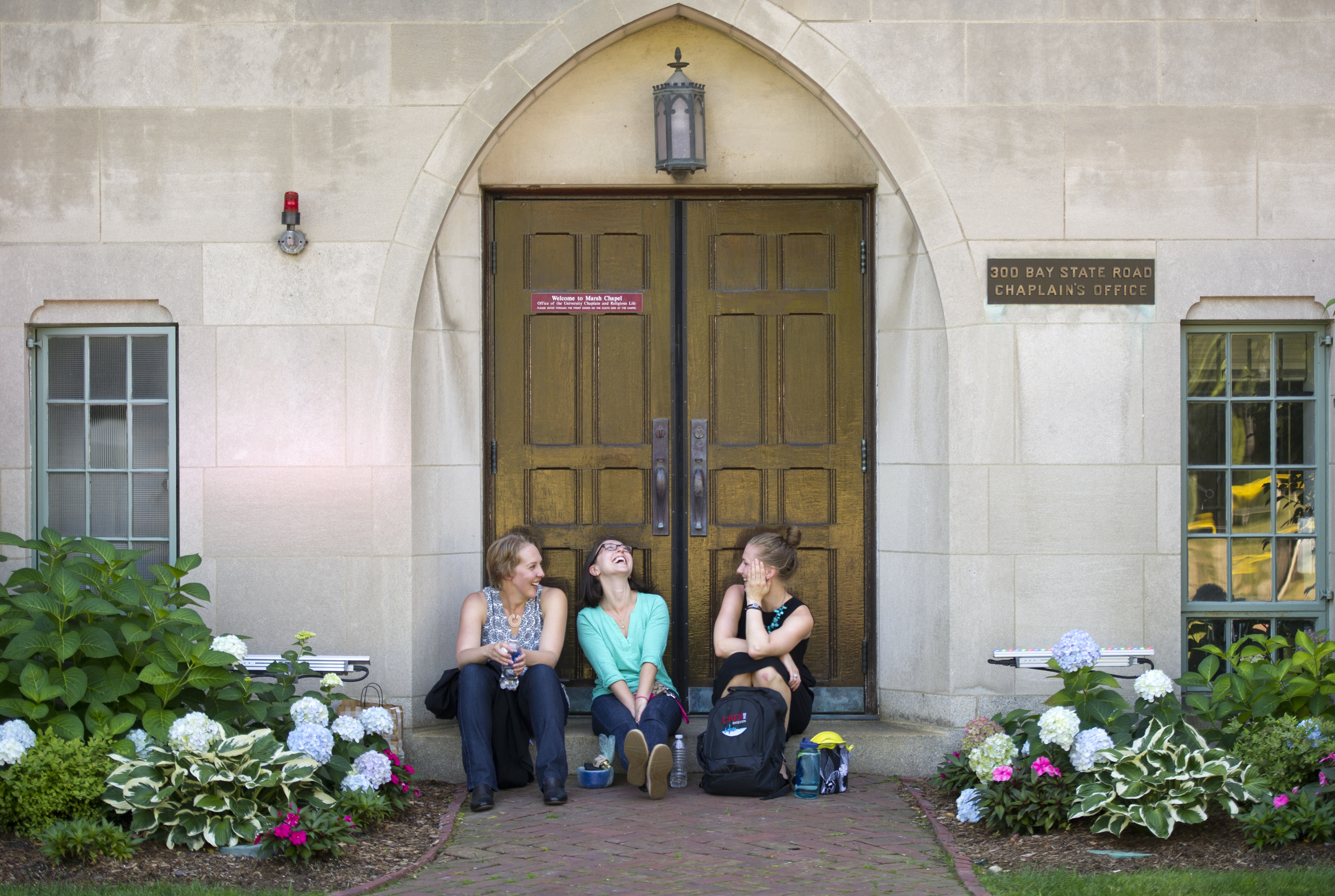 Debbie Hinck (LAW'17) from left, Yelena Kuznetsov (LAW'17), and Hillary Chadwick (LAW'17) get to to know each other during a break between classes September 4, 2014. The three had met briefly for the first time back in the spring during an orientation. Photo by Cydney Scott for Boston University Photography