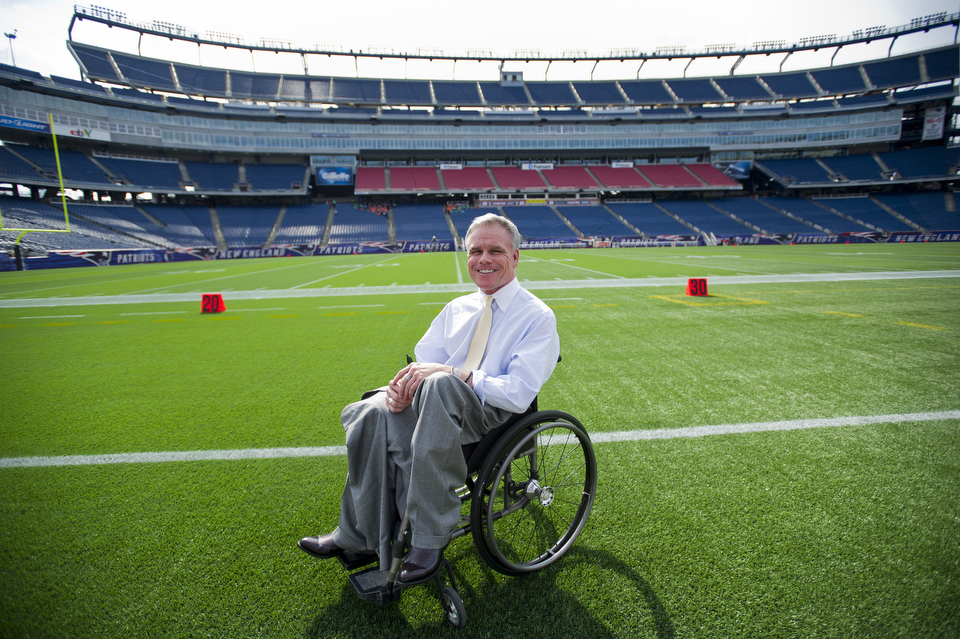 Kevin McGuire is a Boston University alumnus who was photographed at Gillette Stadium Sept. 1, 2011, where he did some work as a lawyer. He consults with various venues (sporting arenas, theatres, etc.) across the nation to ensure that they are ADA compliant, accessible for people with disabilities.   Photo by Cydney Scott  for Boston University Photography