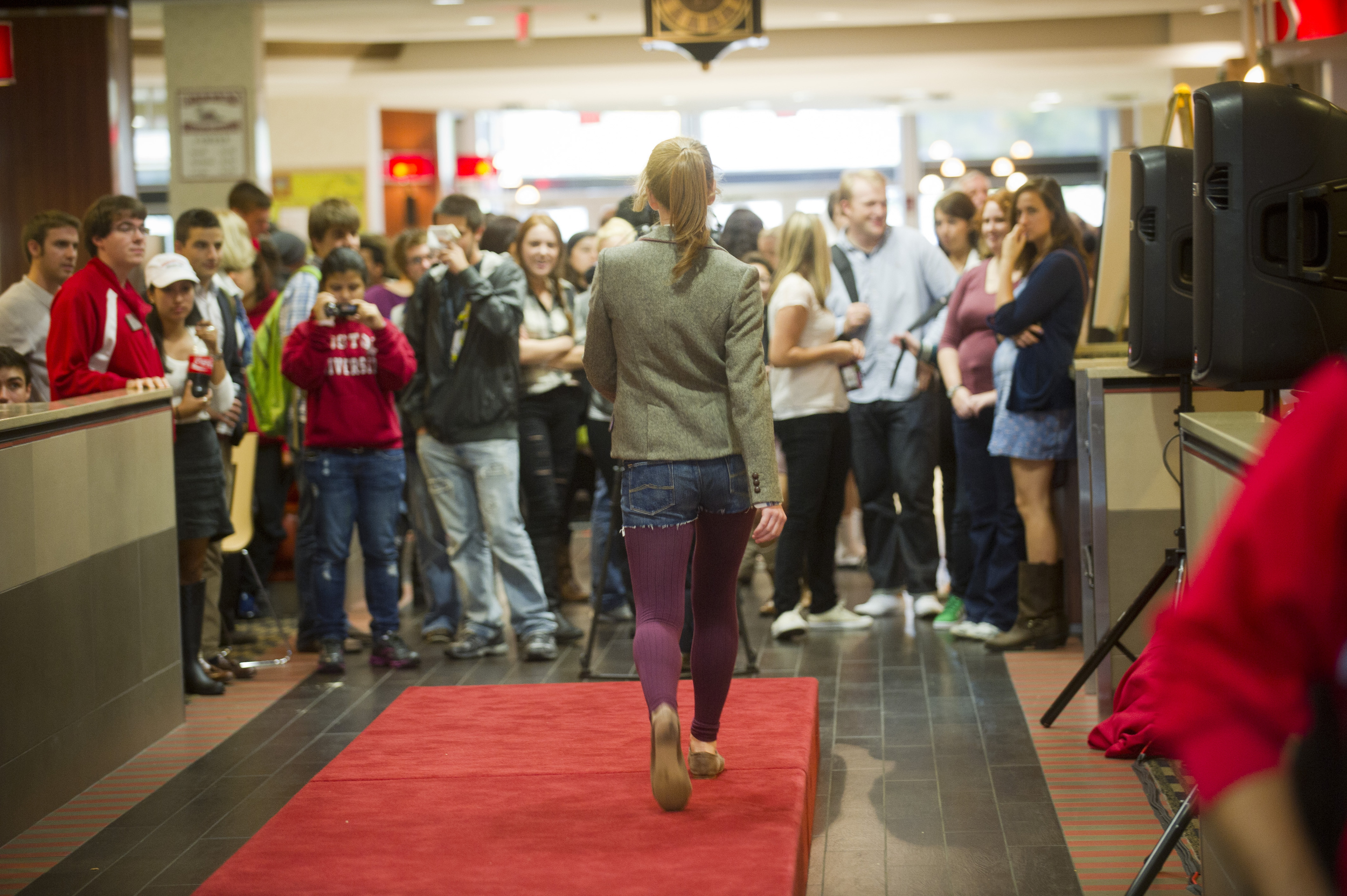 Taylor Stein (SMG14) hits the impromptu runway during the Fashion Show Flash mob at the GSU October 14, 2011.