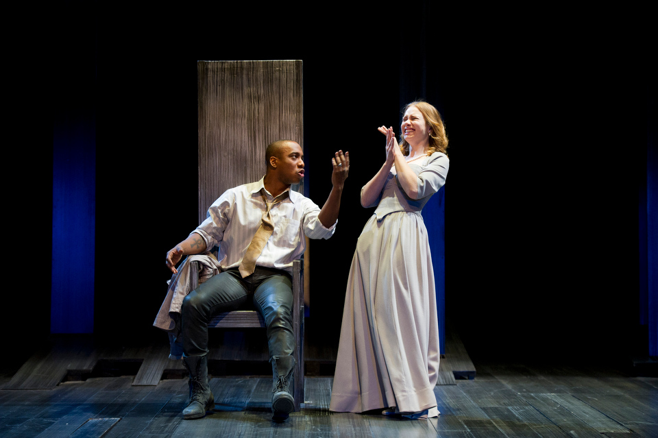 Howard Brenton's play, ANNE BOLEYN, investigates the impact Anne Boleyn may have had on religion in England, in particular on King James and his Bible. Calderwood Pavilion at the BCA, Wimberly Theatre