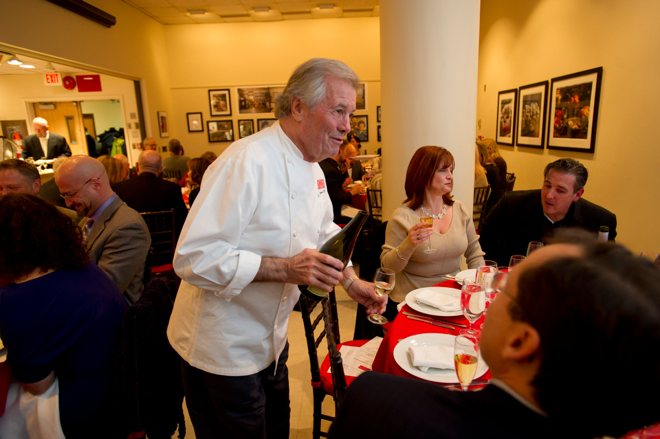 Chef Jacques Pepin makes the rounds during the event Celebrating Julia Child's Centenary at 808 Comm Ave November 7, 2012.  Photo by Cydney Scott for Boston University