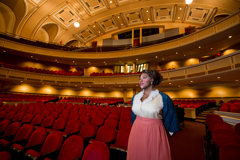 For Bostonia piece about Michelle Johnson (CFA'07) is a rising star in the opera community, playing Mimi in PORTopera's La Bohème in Portland, ME.  Photo by Cydney Scott for Boston University Photography