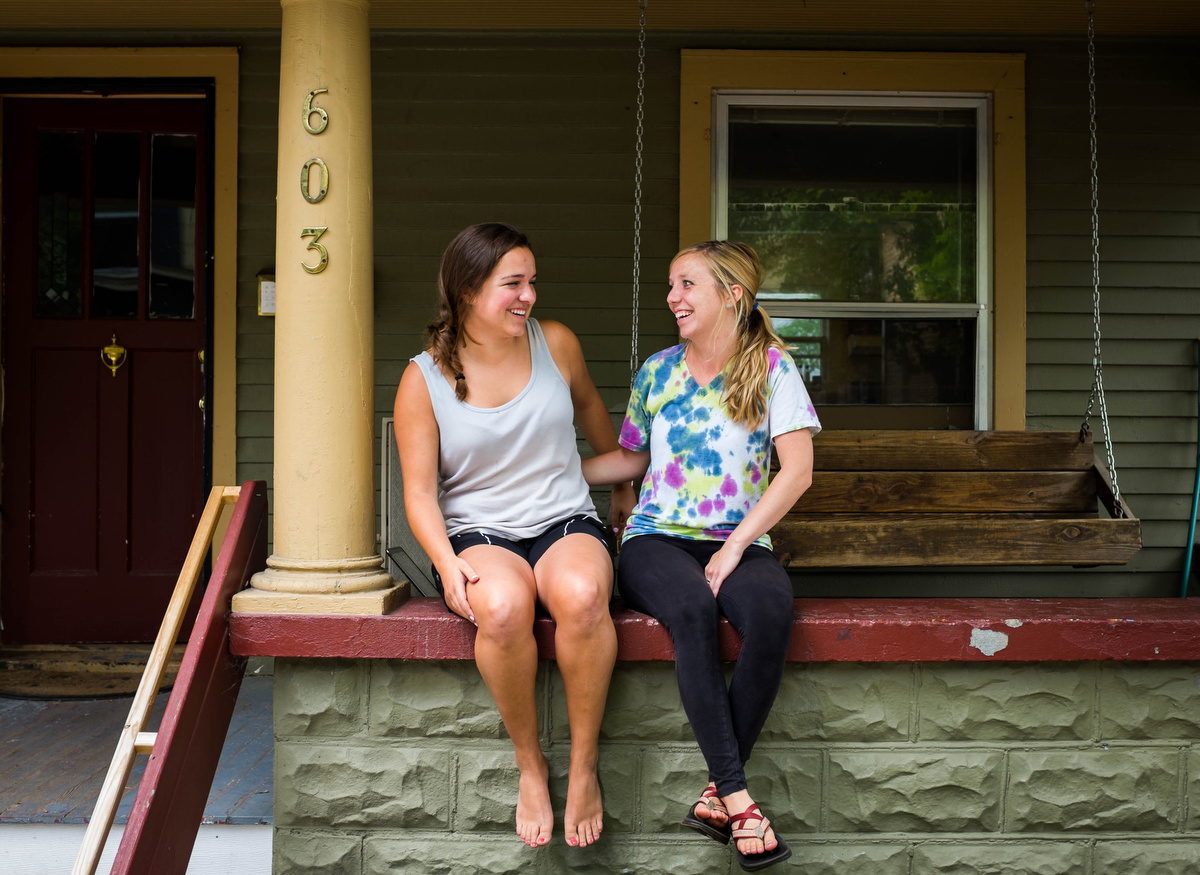 Katie and Alison on the same porch where my dad used to live
