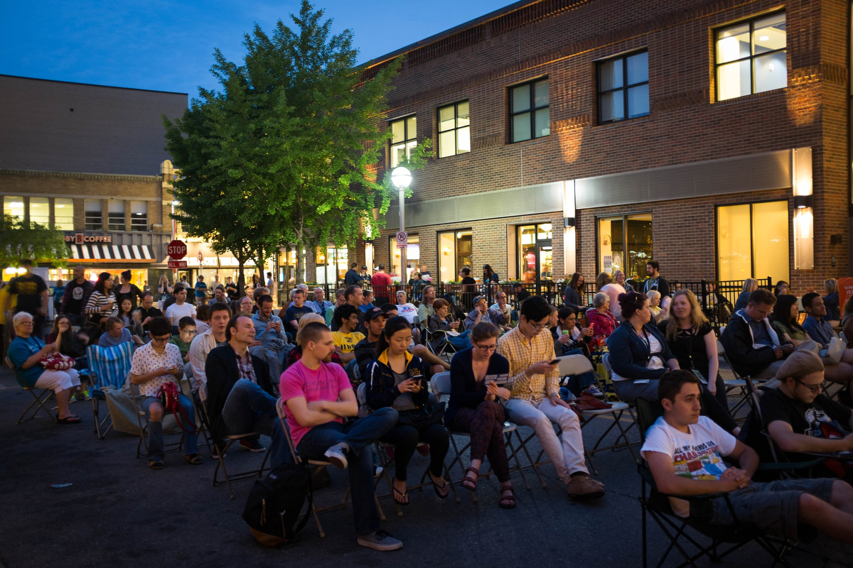 Nighttime showing of Jaws in downtown Ann Arbor