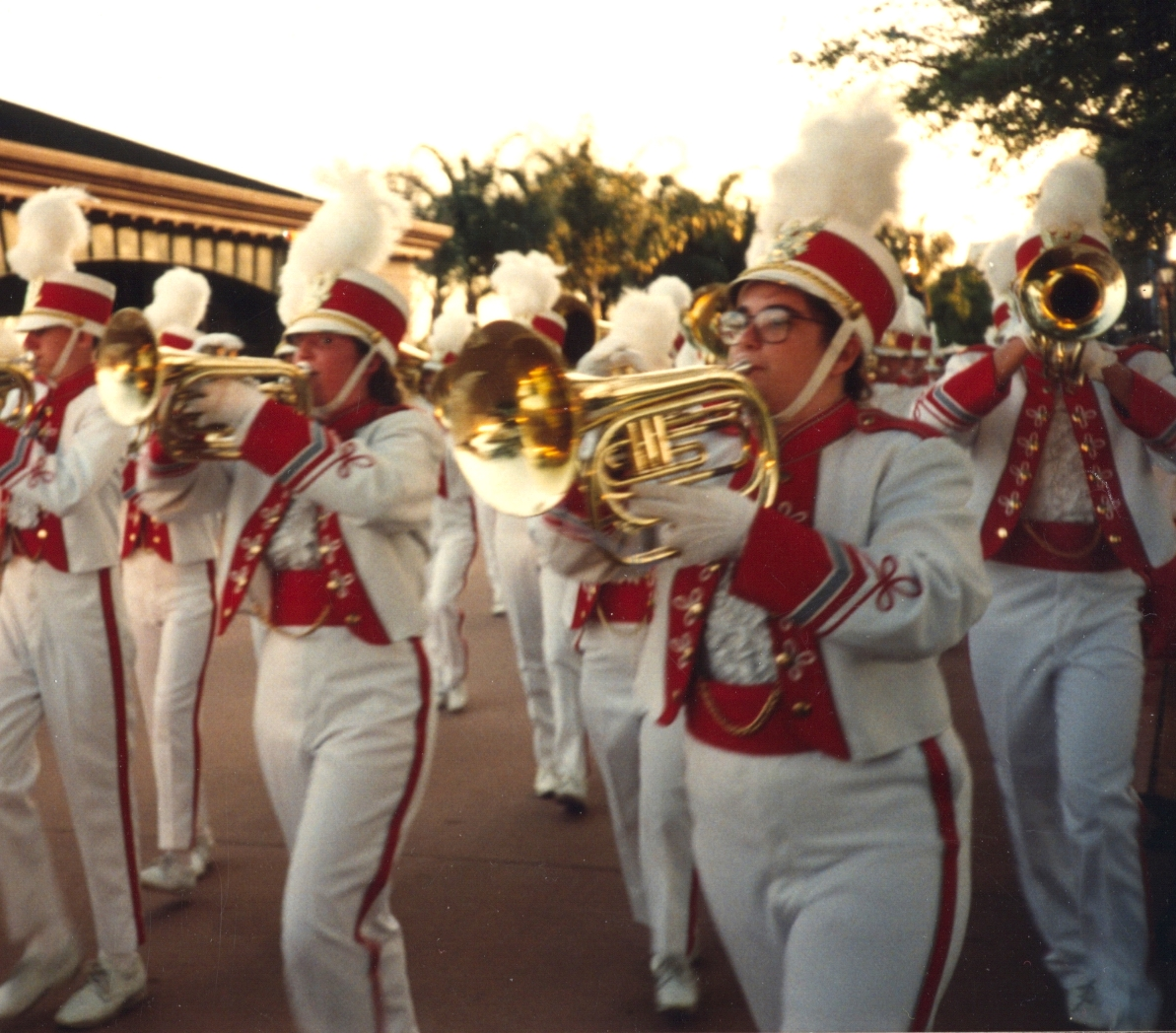 Marching Epcot together. Me, at left, and Amanda at right. 1993