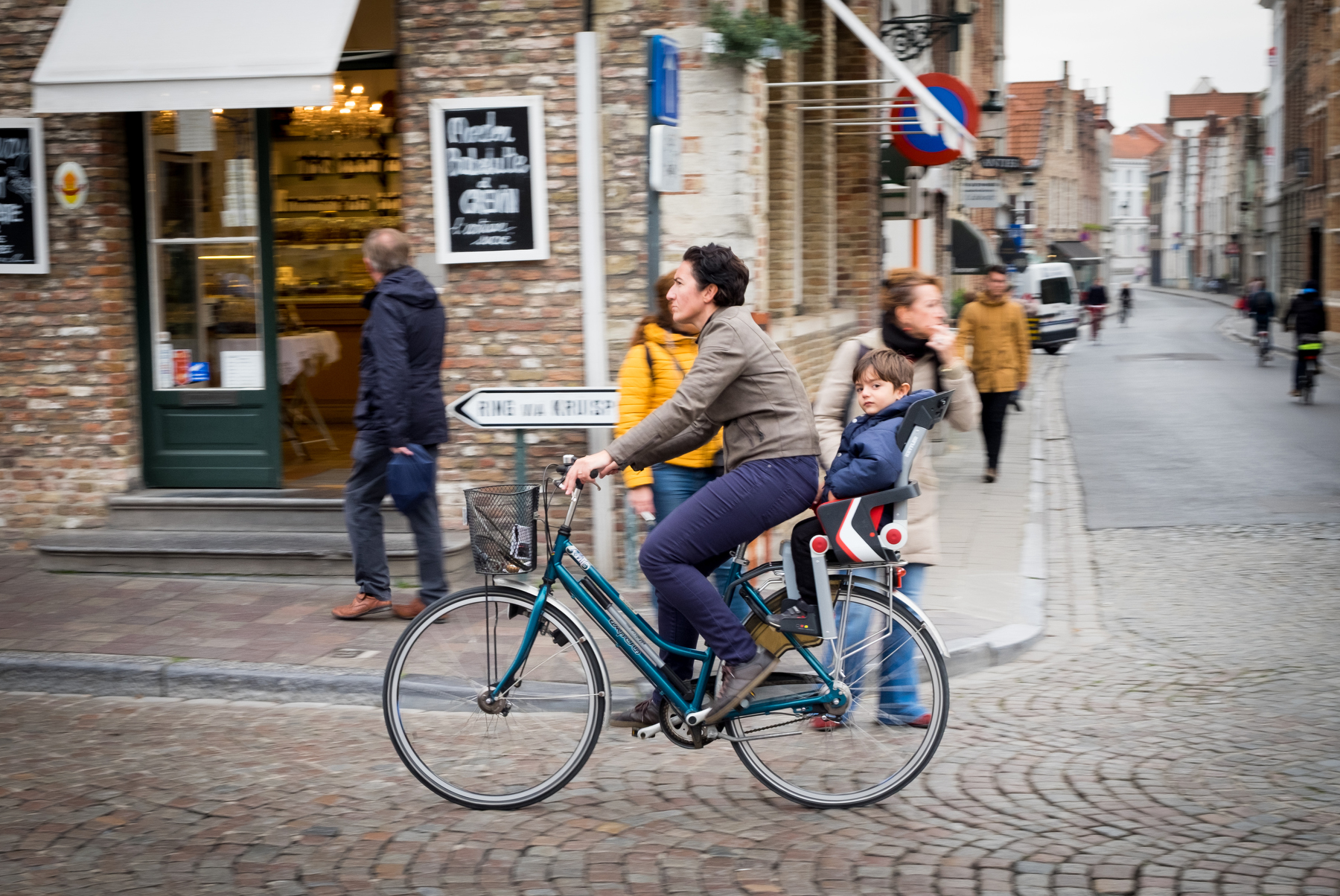 The locals were pros on their bikes in Bruges, Belgium
